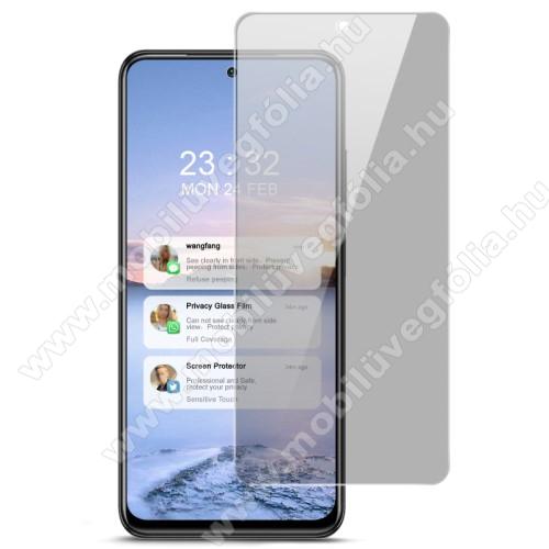 IMAK Privacy Anti-peep előlap védő karcálló edzett üveg - ÁTLÁTSZÓ - 9H, betekintés elleni védelemmel, A teljes felületén tapad! - A képernyő sík részét védi! - Xiaomi Redmi Note 10 / Redmi Note 10S - GYÁRI