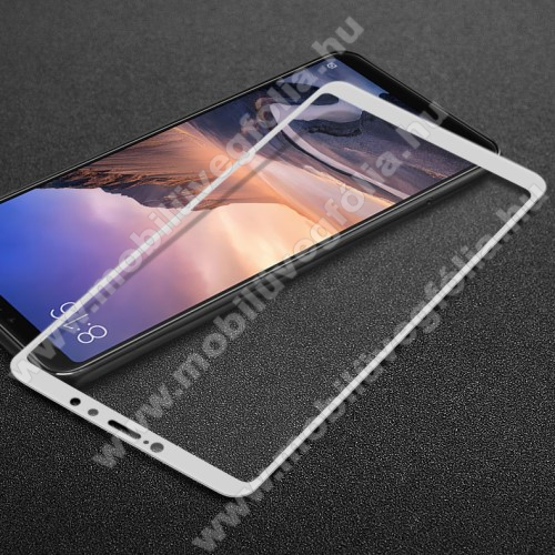 IMAK Pro+ előlap védő karcálló edzett üveg - FEHÉR - 9H - Xiaomi Mi Max 3 - A TELJES KIJELZŐT VÉDI! - GYÁRI