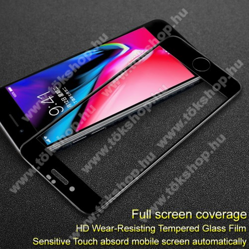 IMAK Pro+ előlap védő karcálló edzett üveg - FEKETE - 9H, A teljes felületén tapad! -  APPLE iPhone 7 Plus  / APPLE iPhone 8 Plus - A TELJES KIJELZŐT VÉDI! - GYÁRI