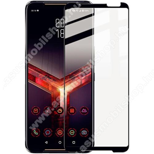 IMAK Pro+ előlap védő karcálló edzett üveg - FEKETE - 9H, A teljes felületén tapad! - ASUS ROG Phone II (ZS660KL) - A TELJES KIJELZŐT VÉDI - GYÁRI