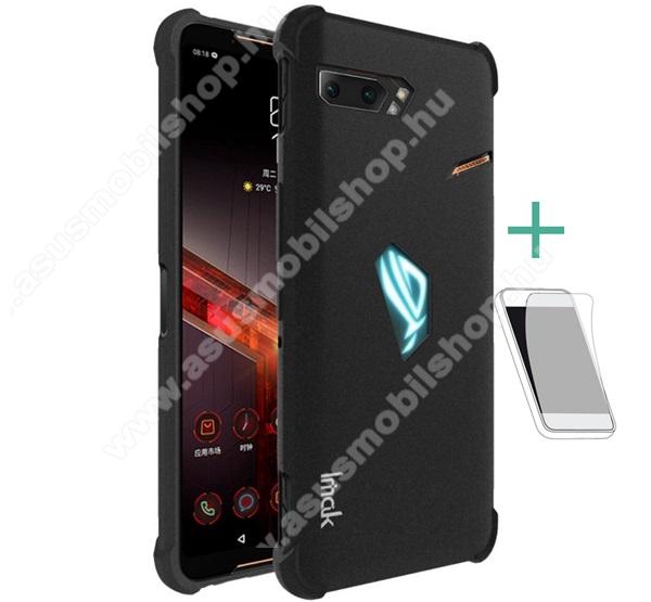 IMAK Silky szilikon védő tok / hátlap - MATT FEKETE - ERŐS VÉDELEM! - képernyővédő fóliával! - ASUS ROG Phone II (ZS660KL) - GYÁRI