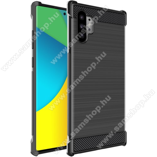 IMAK VEGA CARBON szilikon védő tok / hátlap - FEKETE - erősített sarkok, ERŐS VÉDELEM! - SAMSUNG Galaxy Note10 Plus (SM-N975F) / SAMSUNG Galaxy Note10 Plus 5G (SM-N976F) - GYÁRI
