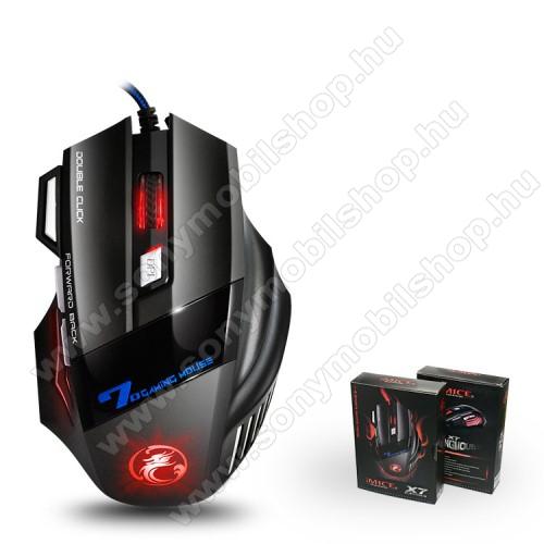 IMICE X7 Gaming egér 7 GOMBOS EGÉR - USB csatlakozás, RGB világítás, állítható DPI 800-1200-1600-2400, 130 x 86 x 39mm - FEKETE