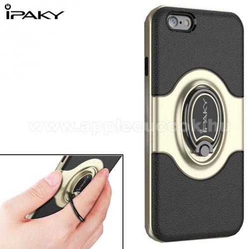 IPAKY műanyag védő tok / hátlap - ARANY / FEKETE - fogást segítő ujjtámasszal, 360°-ban forgatható, mágneses, szilikon belső - APPLE iPhone 6 Plus - GYÁRI