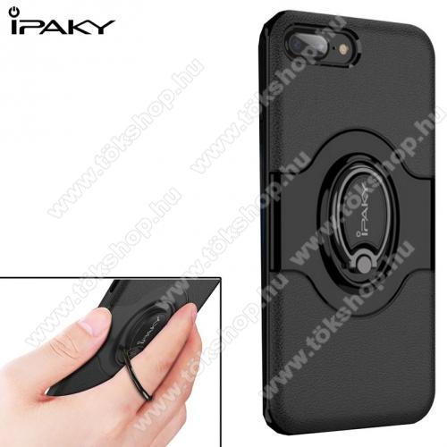 IPAKY műanyag védő tok / hátlap - FEKETE - fogást segítő ujjtámasszal, 360°-ban forgatható, mágneses, szilikon belső - APPLE iPhone 7 Plus (5.5) / APPLE iPhone 8 Plus (5.5) - GYÁRI