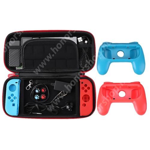 HUAWEI Honor V40 5G IPEGA 18 az 1-ben Nintendo Switch készlet - 1x védőtok / táska belső puha bélés, belső hálós zseb, Joy-Con szilikon védő tok, kontroller, 1x 3.5mm jack elosztó, 1x headset, 1x képernyővédő fólia, 2x játék tároló - FEKETE - PG-9182 - GYÁRI