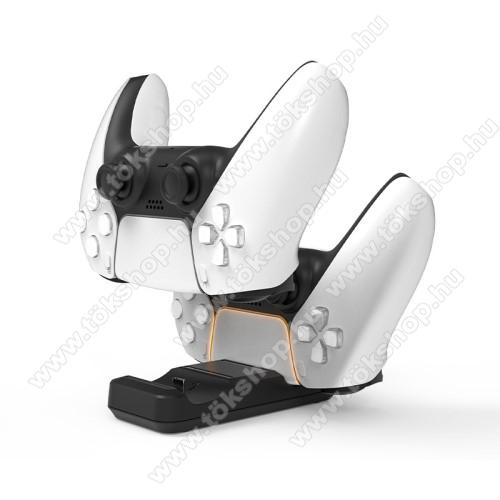 IPLAY PS5 kontrollertöltő állomás / dokkoló - egyszerre 2 kontroller is tölthető vele, csúszásgátló gumitalp, LED jelzőfény, 53 x 40 x 110 mm - FEKETE