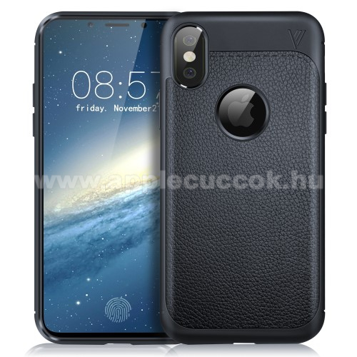 IVSO Gentry Series szilikon védő tok / bőrhatású hátlap - SÖTÉTKÉK - ERŐS VÉDELEM! - APPLE iPhone X / APPLE iPhone XS