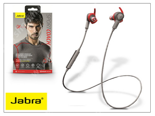 Jabra Sport Coach Bluetooth sztereó headset v4.0 - MultiPoint - grey/red