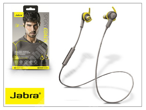 ZTE Blade A520 Jabra Sport Coach Bluetooth sztereó headset v4.0 - MultiPoint - grey/yellow