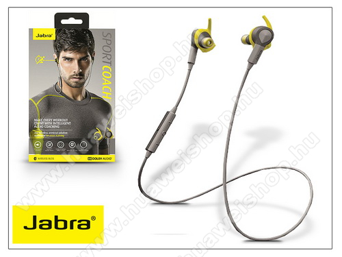 HUAWEI Honor 20 lite (For China Market) Jabra Sport Coach Bluetooth sztereó headset v4.0 - MultiPoint - grey/yellow