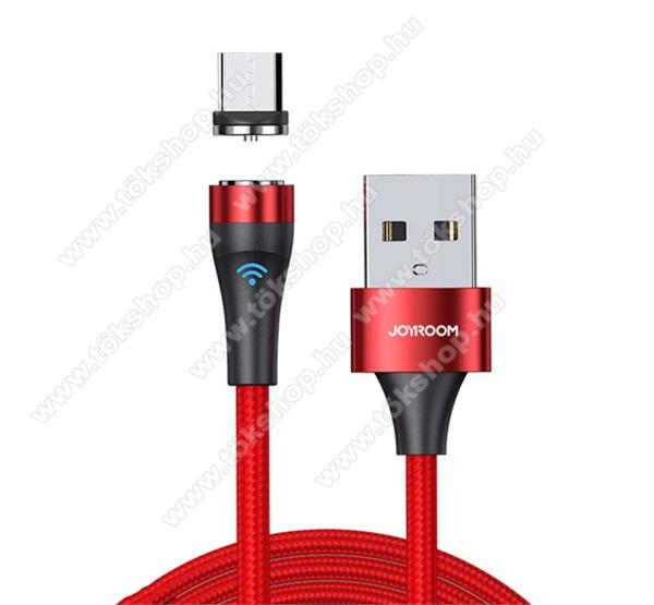 JOYROOM adatátviteli kábel / USB töltő - microUSB mágneses csatlakozó, 1m hosszú, 2.1A, LED jelző, szövettel bevont, adatátviteli funkció is! - PIROS - S-1021X1_R_MICROUSB100 - GYÁRI