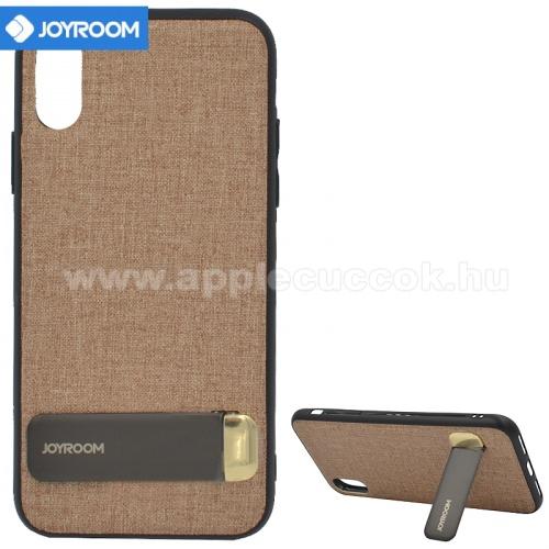 APPLE iPhone XSJOYROOM szilikon v�d? tok / h�tlap (textil bevonat, kit�maszt�) BARNA - JR-BP496_BR - APPLE iPhone X 5.8 / APPLE iPhone XS 5.8 - GY�RI