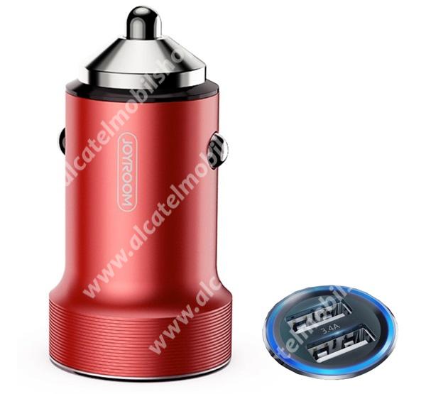 ALCATEL OT-208 JOYROOM szivargyújtó töltő / autós töltő 2 x USB aljzat - 5V / 3400mA, 17W, gyorstöltés támogatás, LED, kábel nélkül - PIROS - C-A02_R - GYÁRI