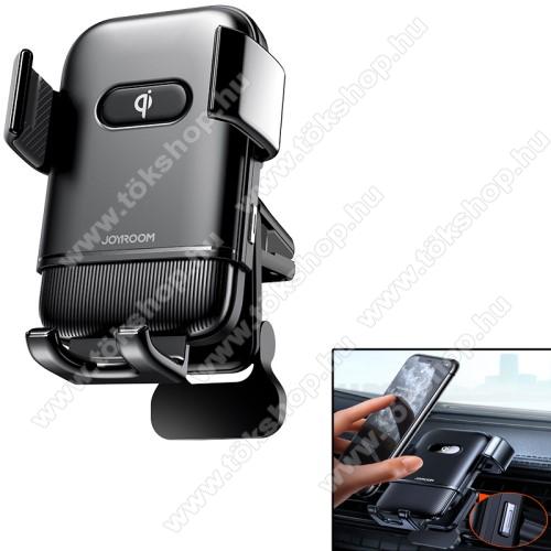 JOYROOM UNIVERZÁLIS gépkocsi / autós tartó - FEKETE - szellőzőrácsra rögzíthető, elforgatható, gombnyomásra nyit és zár, QI vezetéknélküli funkció, QC3.0, 15W, 4,7-6,8