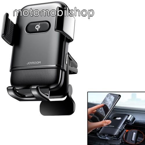 """MOTOROLA One Vision JOYROOM UNIVERZÁLIS gépkocsi / autós tartó - FEKETE - szellőzőrácsra rögzíthető, elforgatható, gombnyomásra nyit és zár, QI vezetéknélküli funkció, QC3.0, 15W, 4,7-6,8""""-os készülékekhez, fogadóegység nélkül! - JR-ZS216 - GYÁRI"""