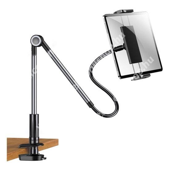 """ALCATEL OTE 301 JOYROOM ZS263 UNIVERZÁLIS tablet Pc és okostelefon állvány - asztallapra csiptethető, elforgatható, 360°-ban 4.7-12.9"""" méretig használható - FEKETE - GYÁRI"""