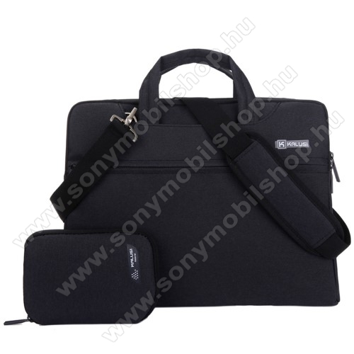 KALUSI UNIVERZÁLIS Laptop tok / táska + 1 kis táska - FEKETE - vízálló szövet, bársony belső, különálló zsebekkel, dupla cipzár, ütődésálló, hordozható. vállpánt - ERŐS VÉDELEM! - 320 x 240  x 40mm - 11