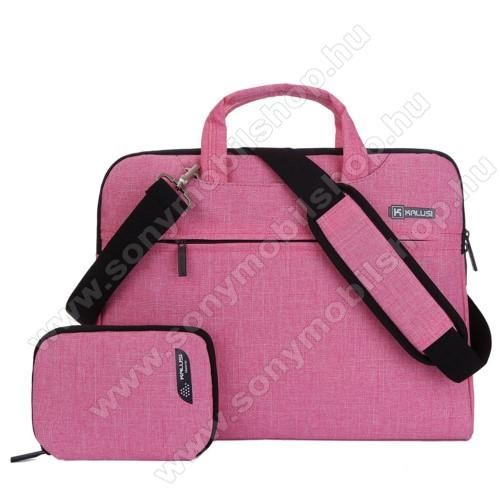 KALUSI UNIVERZÁLIS Laptop tok / táska + 1 kis táska - RÓZSASZÍN - vízálló szövet, bársony belső, különálló zsebekkel, dupla cipzár, ütődésálló, hordozható. vállpánt - ERŐS VÉDELEM! - 320 x 240  x 40mm - 11