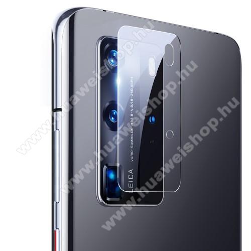 Kamera lencsevédő karcálló edzett üveg - 1db, 9H, 0,33mm, Arc Edge - HUAWEI P40 Pro