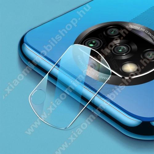 Kamera lencsevédő karcálló edzett üveg - 1db, 9H, 0,33mm, Arc Edge - Xiaomi Poco X3 NFC