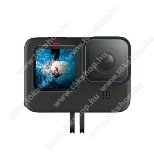 Kameralencse / képernyővédő karcálló edzett üveg - 2 szett / 6db, 0,3 mm vékony, 9H, kijelzők és lencsevédő is! - GoPro 9 / Hero 9