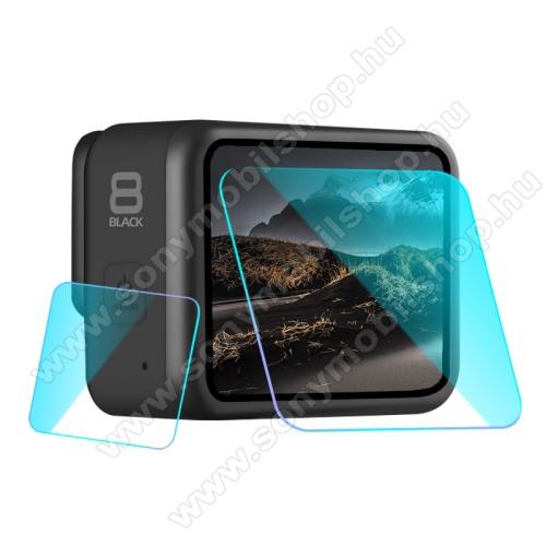 Kameralencse / képernyővédő karcálló edzett üveg - 1 szett / 2db, 0,3 mm vékony, 9H, kijelző és lencsevédő is! - GoPro Hero 8
