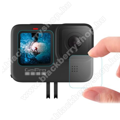Kameralencse / képernyővédő karcálló edzett üveg - 1 szett / 3db, 0,3 mm vékony, 9H, kijelzők és lencsevédő is! - GoPro Hero 9