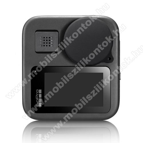 Kameralencse védő kupak / képernyővédő karcálló edzett üveg - 1 szett / 2db kupak és 2db üveg, 0,3 mm vékony, 9H, kijelzők és lencsevédő is! - GoPro Hero Max