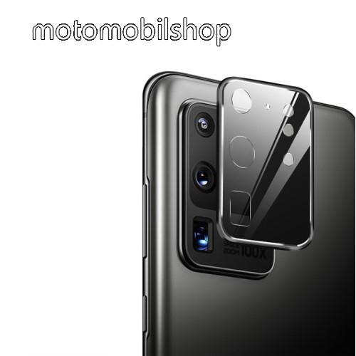 Kameravédő fém keret + üvegfólia, 1db, 9H, 0,2mm - SAMSUNG SM-G988F Galaxy S20 Ultra / SAMSUNG Galaxy S20 Ultra 5G