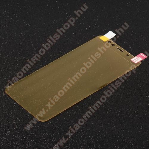 Képernyővédő fólia - Clear - 1db, törlőkendővel, teljes képernyőre - SAMSUNG Galaxy A8 Plus (2018)