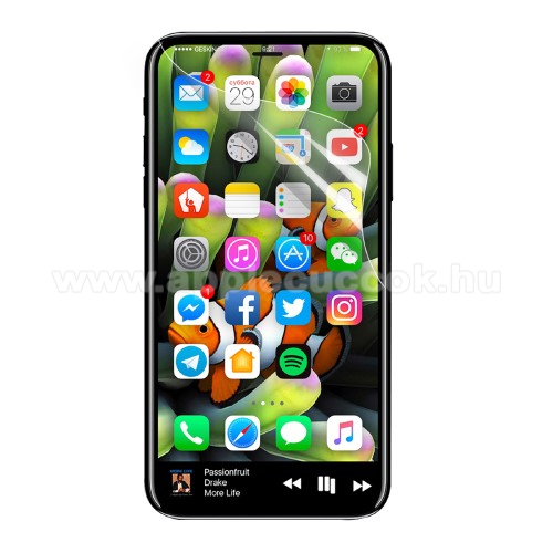 APPLE iPhone X Képernyővédő fólia - Clear - 1db, törlőkendővel, teljes képernyőre - APPLE iPhone X / APPLE iPhone XS