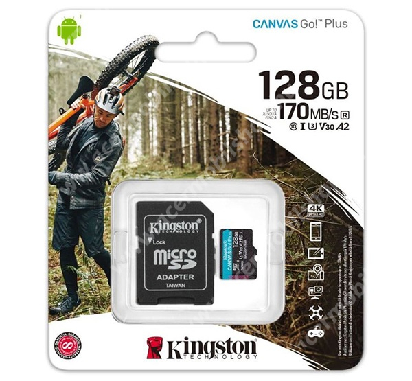 ACER Liquid X1 KINGSTON MEMÓRIAKÁRTYA TransFlash 128GB - SDCG3/128GB - microSDXC Canvas Go Plus - Class 10, V30, UHS-1, U3 + SD adapter - GYÁRI