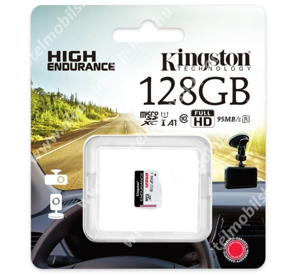KINGSTON MEMÓRIAKÁRTYA TransFlash 128GB - SDCE/128GB - microSDXC High Endurance - Class 10, A1, UHS-1, U1 - GYÁRI