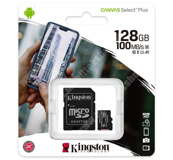 KINGSTON MEMÓRIAKÁRTYA TransFlash 128GB - SDCS2/128GB - microSDXC Canvas Select Plus - Class 10, UHS-1, A1 + SD adapter - GYÁRI