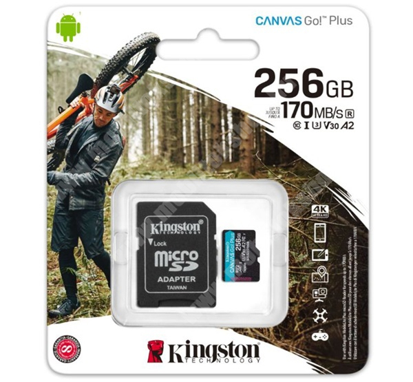 KINGSTON MEMÓRIAKÁRTYA TransFlash 256GB - SDCG3/256GB - microSDXC Canvas Go Plus - Class 10, V30, UHS-1, U3 + SD adapter - GYÁRI