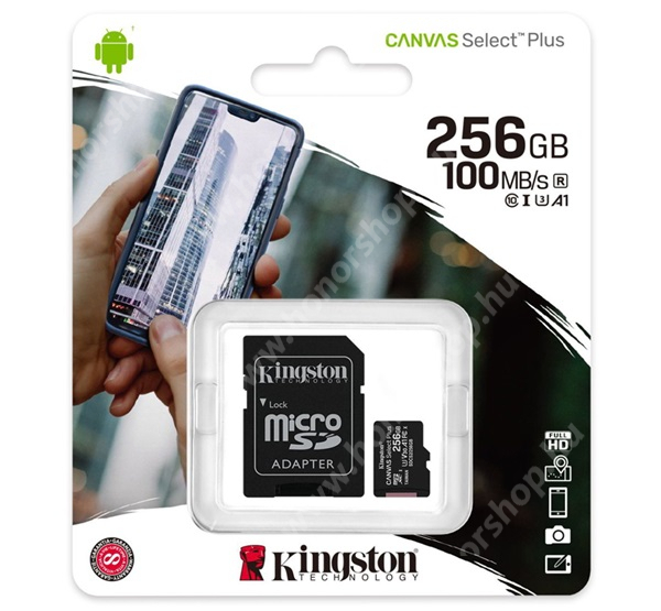 KINGSTON MEMÓRIAKÁRTYA TransFlash 256GB - SDCS2/256GB - microSDXC Canvas Select Plus - Class 10, UHS-1, A1 + SD adapter - GYÁRI