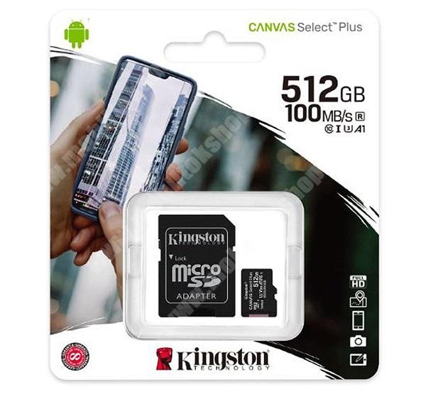 KINGSTON MEMÓRIAKÁRTYA TransFlash 512GB - SDCS2/512GB - microSDXC Canvas Select Plus - Class 10, UHS-1, A1 + SD adapter - GYÁRI