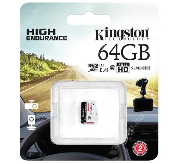 KINGSTON MEMÓRIAKÁRTYA TransFlash 64GB - SDCE/64GB - microSDXC High Endurance - Class 10, A1, UHS-1, U1 - GYÁRI