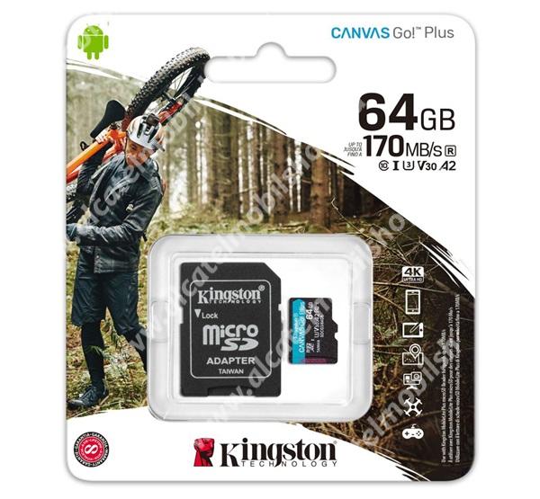 KINGSTON MEMÓRIAKÁRTYA TransFlash 64GB - SDCG3/64GB - microSDXC Canvas Go Plus - Class 10, V30, UHS-1, U3 + SD adapter - GYÁRI