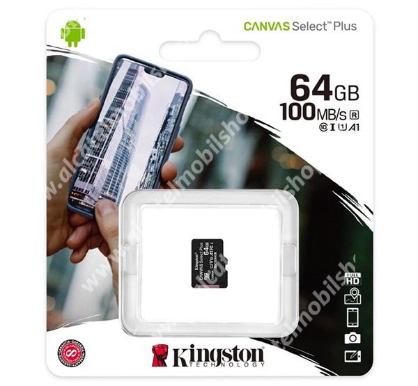 KINGSTON MEMÓRIAKÁRTYA TransFlash 64GB - SDCS2/64GBSP - microSDXC Canvas Select Plus - Class 10, UHS-1, A1 - GYÁRI