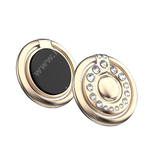 KINGXBAR fém ujjtámasz, gyűrű tartó - Biztos fogás készülékéhez Swarovski kristályokkal kirakott - ARANY