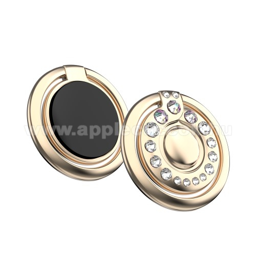 APPLE iPhone 8 PlusKINGXBAR fém ujjtámasz, gyűrű tartó - Biztos fogás készülékéhez Swarovski kristályokkal kirakott - ARANY