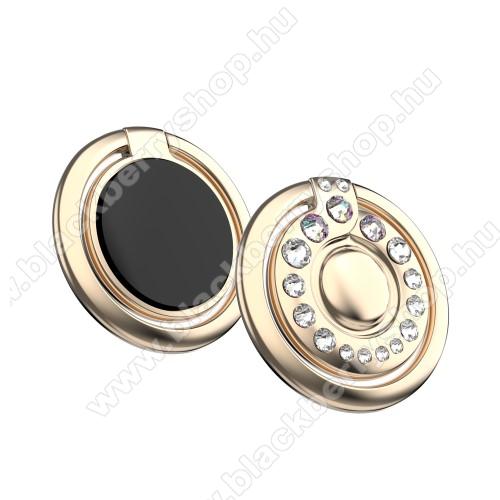 BLACKBERRY 9530 StormKINGXBAR fém ujjtámasz, gyűrű tartó - Biztos fogás készülékéhez Swarovski kristályokkal kirakott - ARANY