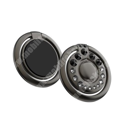 Elephone P3000 KINGXBAR fém ujjtámasz, gyűrű tartó - Biztos fogás készülékéhez Swarovski kristályokkal kirakott - FEKETE