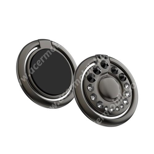 ACER Iconia Tab 8 A1-840FHD KINGXBAR fém ujjtámasz, gyűrű tartó - Biztos fogás készülékéhez Swarovski kristályokkal kirakott - FEKETE