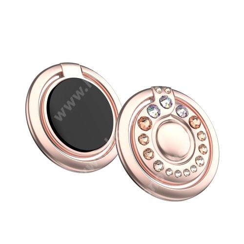 HUAWEI Honor V40 5G KINGXBAR fém ujjtámasz, gyűrű tartó - Biztos fogás készülékéhez Swarovski kristályokkal kirakott - ROSE GOLD