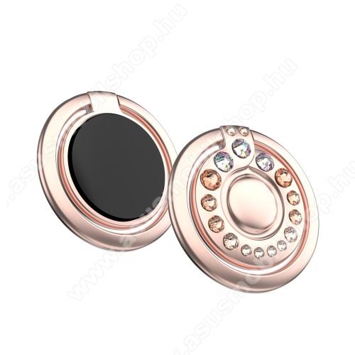 ASUS Zenfone 2 Laser (ZE500KL)KINGXBAR fém ujjtámasz, gyűrű tartó - Biztos fogás készülékéhez Swarovski kristályokkal kirakott - ROSE GOLD