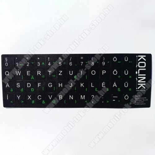 Kolink UNIVEZÁLIS billentyűzet matrica fekete alapon fehér betűk magyar kiosztás!