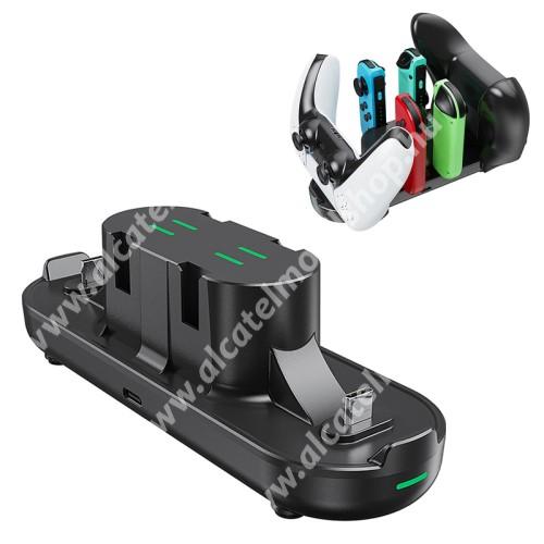 Kontrollertöltő állomás / dokkoló - Playstaton, Xbox és Nintendo Joy-Con, egyszerre 6 kontroller is tölthető vele, csúszásgátló gumitalp, LED jelzőfény, 56 x 160 x 55 mm - FEKETE